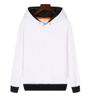 Long Sleeves Plus Fleece Pullover Hood Solid Color