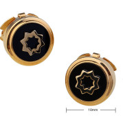 High-end Business Round Electroplated Gold American Shirt Cufflinks