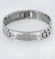 New Style Stainless Steel Black Strap Lettering Bracelet