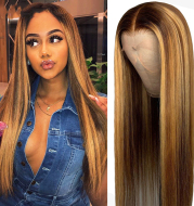 Straight Highlight Lace Front Wig Mid-Section Dyeing Gradient
