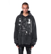 Washed And Old Hip-Hop Street Hooded Sweater Men's Trend