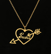 Customized One Arrow Piercing Name Necklace