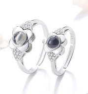 925 Silver Petal Projection Color Photo Couple Rings