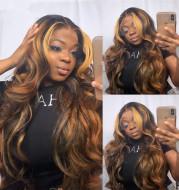 Wig Female Black-Brown Gradient Long Curly Hair