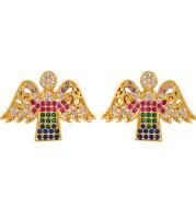 Popular All-match Fashion Trendy Women's Diamond Earrings Gold-plated Copper Letter Earrings