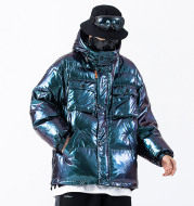 Dark Reflective Cargo Parkas Jackets Mens Hip Hop Streetwear Padded Jackets Harajuku Windbreaker Parka Coats Techwear