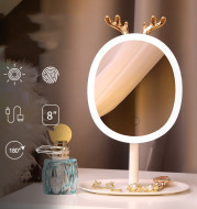 LED Smart Makeup Mirror Antler Design with Wireless Charging