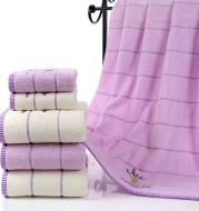 Lavender Soft Absorbent Embroidered Striped Bath Towel