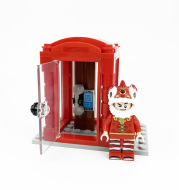 New Telephone Box Booth Street City Creator Blocks for Children Xmas Trees Moc Bricks Parts Bookcase Standing Clocks DIY