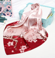 Imitation Silk Small Square Scarf Retro Printing Shawl