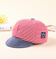 Striped Cotton Baby Cap With Five-star Label