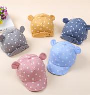 Children's Hat Baby Cuffed Hat Cotton Polka Dot Ears Baby Sun Hat