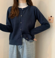 Loose Cashmere Padded Long-Sleeved Sweater Cardigan