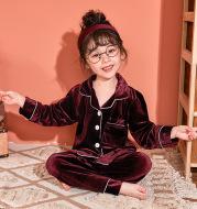 Children's Gold Velvet Solid Color Pajamas Set