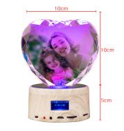 Crystal Bluetooth Speaker Faceted Peach Heart Base