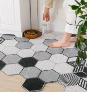 Non-slip Washable Hexagon Printed Custom Cut Doormat Carpet