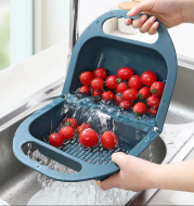 Folding Drain Basket Leaking Fruit Box Vegetable Container Drain Rack Sink with Handle Storage Baskets
