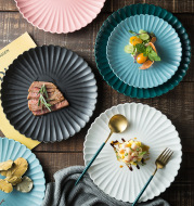 Creative Simple Solid-color Ceramic Plate Fruit Cake Plate Round Beef Steak Western Plate