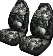 Black And White Tattooed Woman High Back Print Car Seat Cover