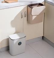 Kitchen Hanging Sliding Lid Plastic Trash Can Wide Opening Durable Garbage Can Household Trash Basket
