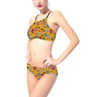 Printed Custom Swimwear No Steel Ring Split Bikini