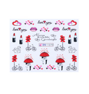 Fashion Ins Style Nail Applique Love Bear Red Lips Watermark Sticker Set