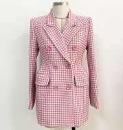 Pink Houndstooth Wool Coat Retro Double-breasted