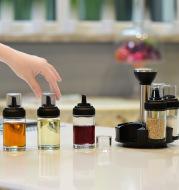 Anti-leakage Oil Bottle Pot Glass Vinegar Seasoning Salt Shaker Seasoning Bottle Pot Rotating Seasoning Box Set Kitchen Supplies