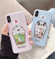 Cartoon Bear Milk Tea Cup Soft Glossy Phone Case