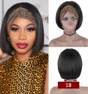 Headband Wig Human Hair Straight Bob Wigs