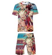 Peripheral Comic Casual 3D Digital Color Printing Short T Shorts Suit
