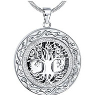 Round Life Tree Necklace In Memory Of Relatives