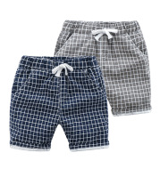 Lace-Up Check Casual Pants with Cotton Breathable Children's Pants