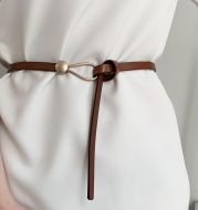 Pure Cowhide Black Decorative Personality Belt Dress Belt
