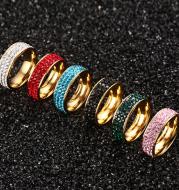 Titanium Steel Jewelry Full Mud Sticky Diamond Ring Full Diamond Ring