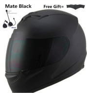 Motorcycle Full Face Helmet Sun Shield Bluetooth Matte Black