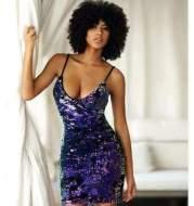 V sexy straps nightclub party magic sequin dress