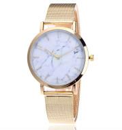 Vansvar fashion brand silver and gold mesh band creative marble wristwatch casual women quartz watches gift relogio feminino