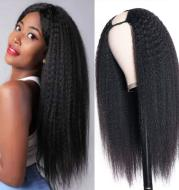 U-shaped headgear, real wig, natural color smooth hair