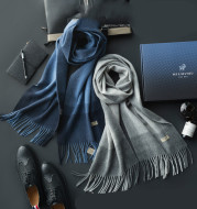 Pure wool scarf men's autumn and winter business simple long thickened boutique