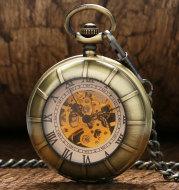 Magnifying glass roman word mechanical pocket watch