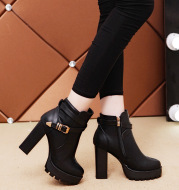 Chunky Heel Martin Thermal Knight Boots