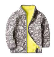 Printed plus fleece polar fleece jacket cardigan