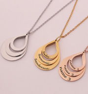 Stainless steel three name custom necklace