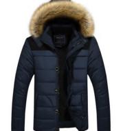 Men's fur collar hooded cotton jacket