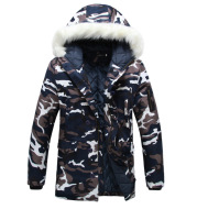 Camouflage large fur collar mid-length padded coat