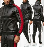 Hooded PU leather sports suit