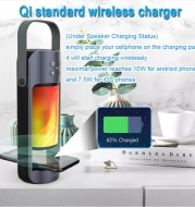 New Portable Alpha Flame Light Bluetooth Speaker Multifunctional Outdoor Emergency Light with Wireless Charging Function