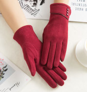 Non-fleece touch screen warm and windproof gloves