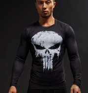 Punisher Men's Compression Shirts Bodybuilding Skin Tight Long Sleeves Jerseys Clothings MMA Exercise Workout Fitness Sportswear